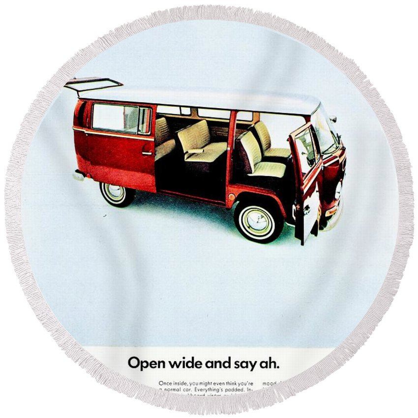 Volkswagen Round Beach Towel featuring the photograph Say Ah by Benjamin Yeager