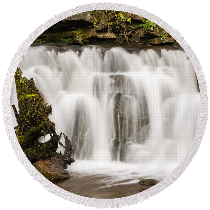 Autumn Round Beach Towel featuring the photograph Scaleber Force Close Up by David Head