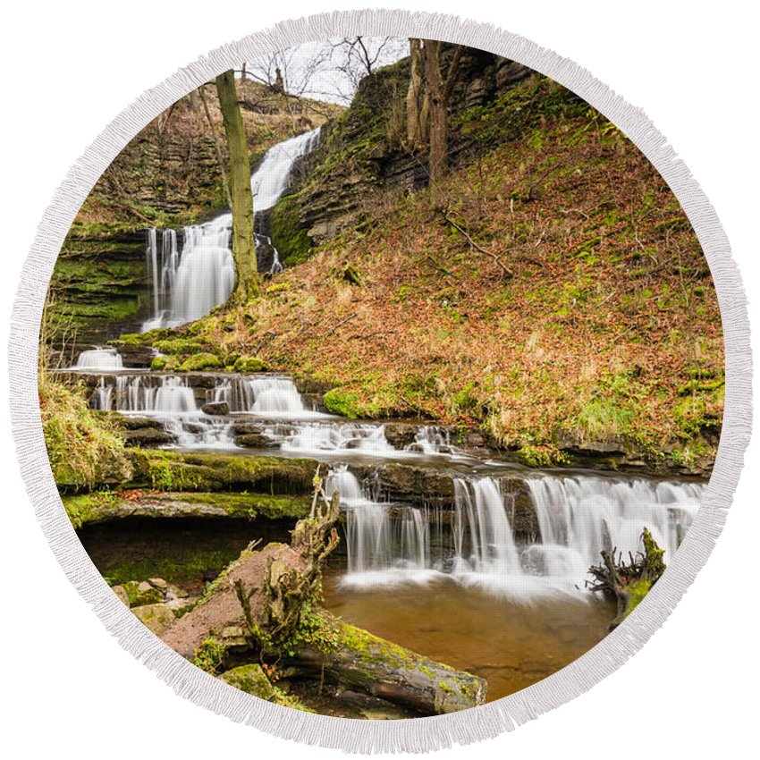 Autumn Round Beach Towel featuring the photograph Scaleber Force Waterfall by David Head