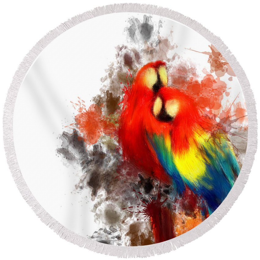 Parrot Round Beach Towel featuring the digital art Scarlet Macaw by Lourry Legarde