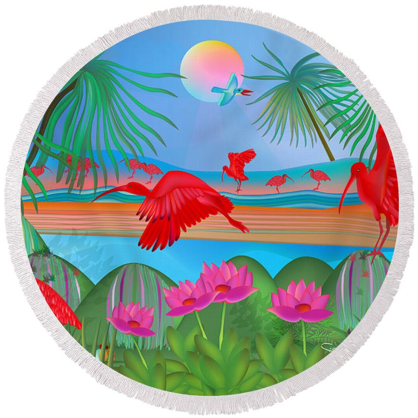 Scarlet Ibis Round Beach Towel featuring the digital art Scarlet Party - Limited Edition 1 Of 20 by Gabriela Delgado