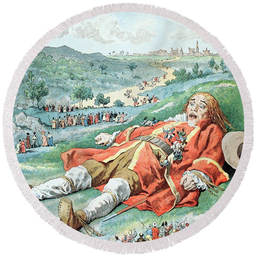 'gulliver's Travels' Round Beach Towel featuring the painting Scene From Gullivers Travels by Frederic Lix