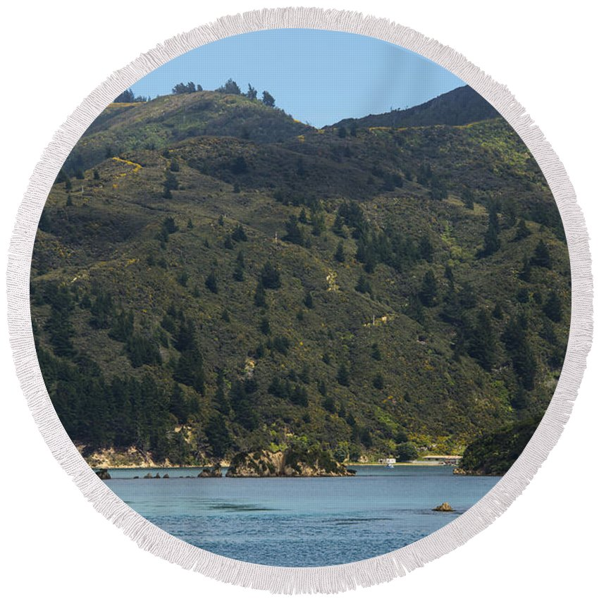 Cook Strait New Zealand Water Tree Trees Hill Hillside Hills Hillsides Landscape Landscapes Waterscape Waterscapes Round Beach Towel featuring the photograph Scenery On Cook Strait by Bob Phillips