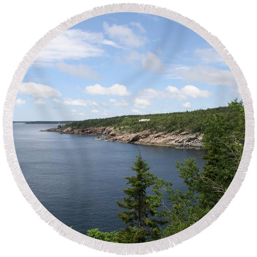 Sea Round Beach Towel featuring the photograph Scenic Acadia Park View by Christiane Schulze Art And Photography