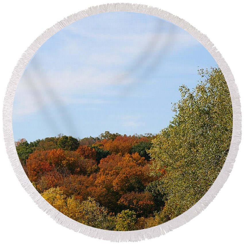 Flower Round Beach Towel featuring the photograph Scenic Hwy by Susan Herber