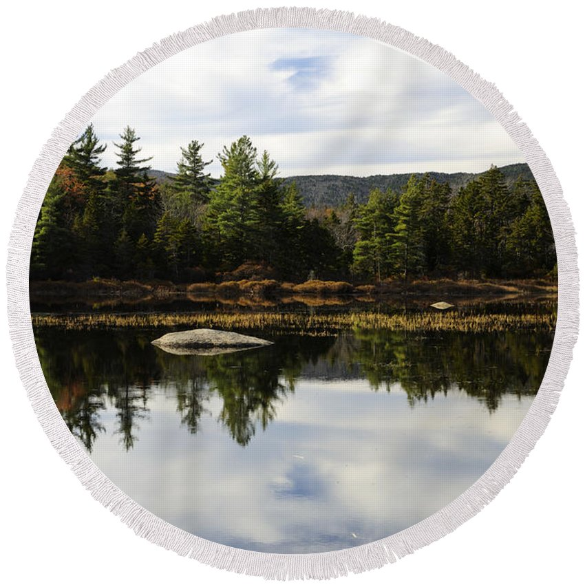 Autumn Round Beach Towel featuring the photograph Scenic Lily Pond by Luke Moore