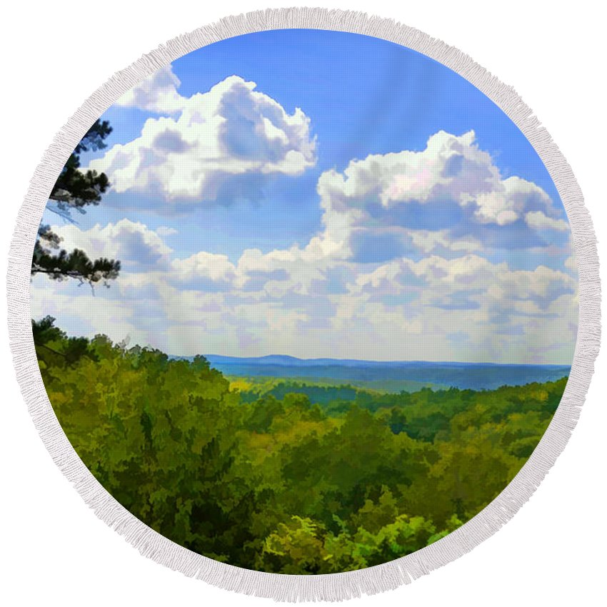 Forest Round Beach Towel featuring the photograph Scenic View Of So Mo Ozarks - Digital Paint by Debbie Portwood