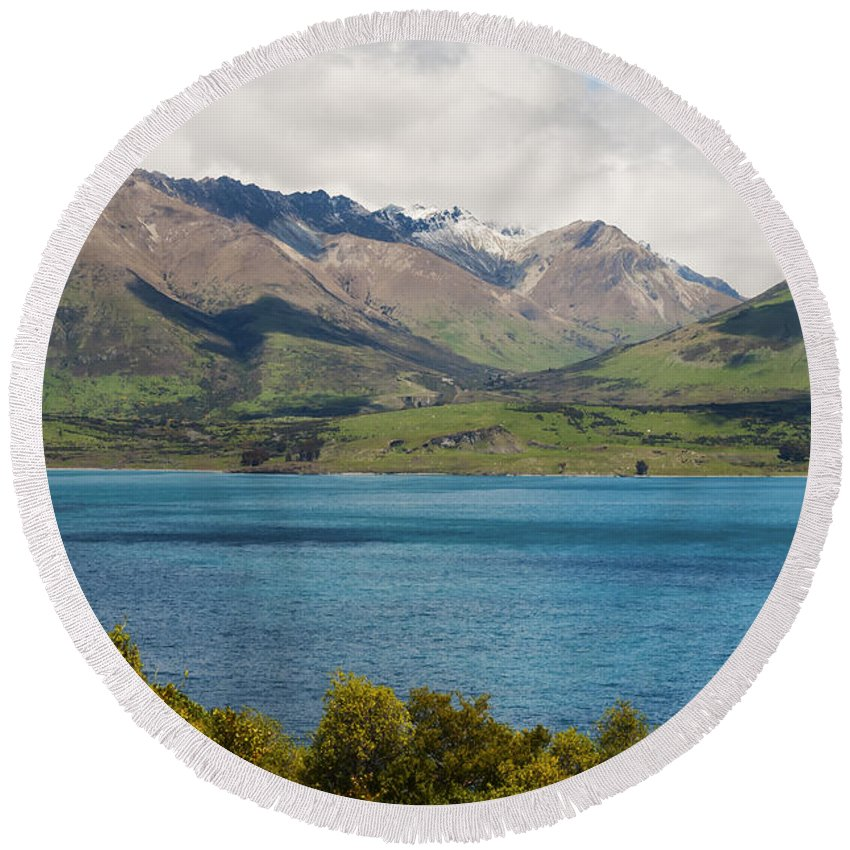 Queenstown New Zealand Lake Wakatipu Lakes Water Mountain Mountains Landscape Landscapes Waterscape Waterscapes Round Beach Towel featuring the photograph Scenic View On Lake Wakatipu by Bob Phillips