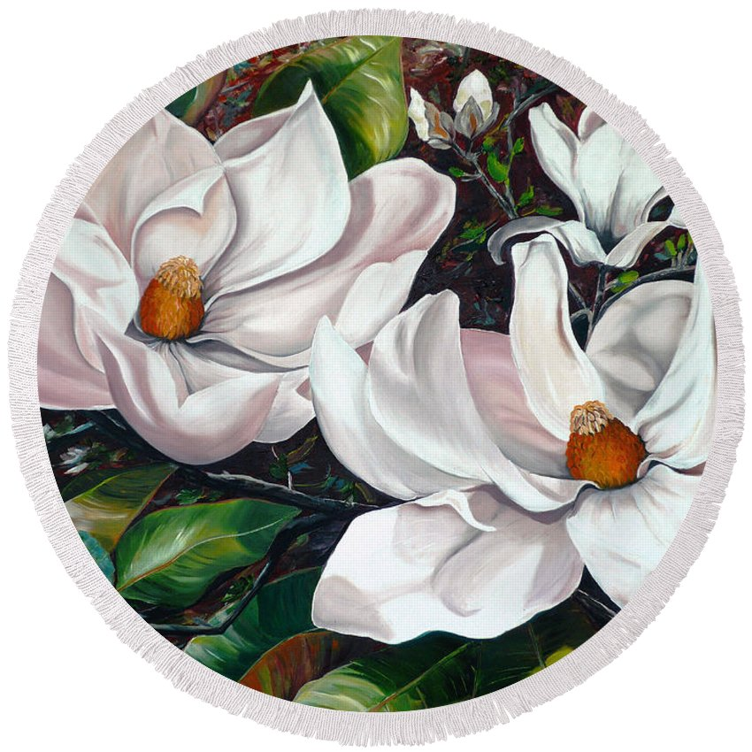 Magnolia Painting Flower Painting Botanical Painting Floral Painting Botanical Bloom Magnolia Flower White Flower Greeting Card Painting Round Beach Towel featuring the painting Scent Of The South. by Karin Dawn Kelshall- Best