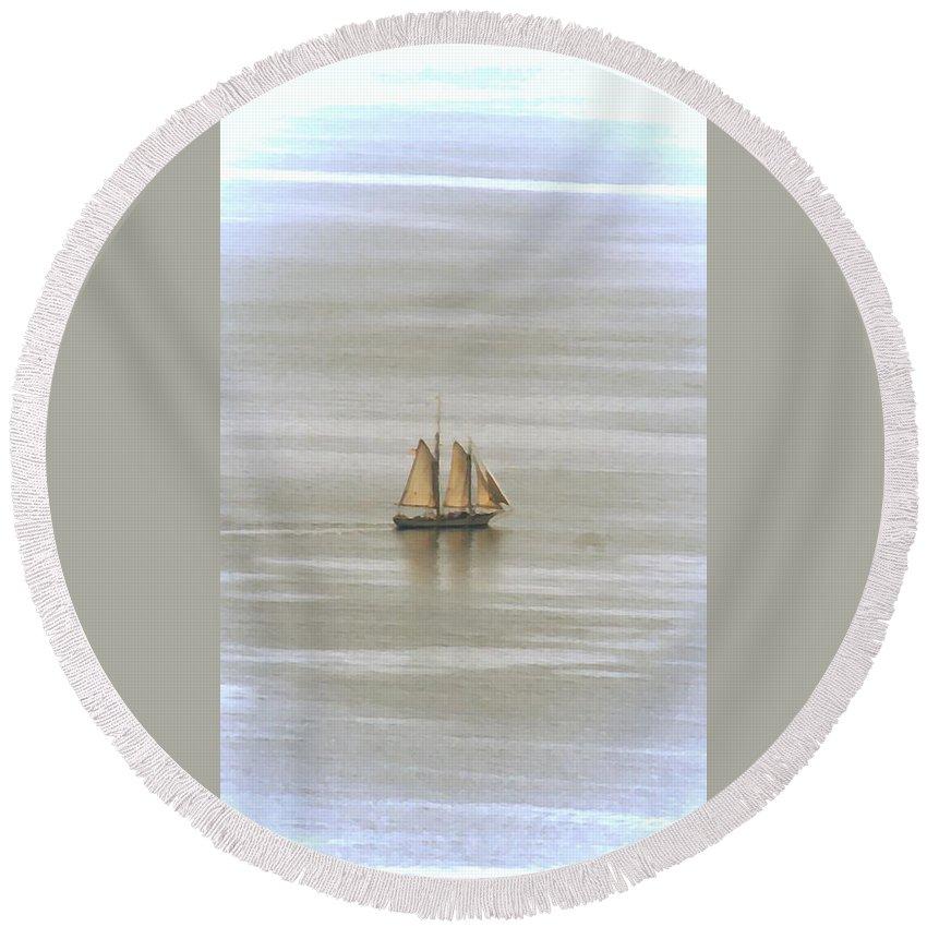 Schooner Round Beach Towel featuring the photograph Schooner 1 by Joe Faherty