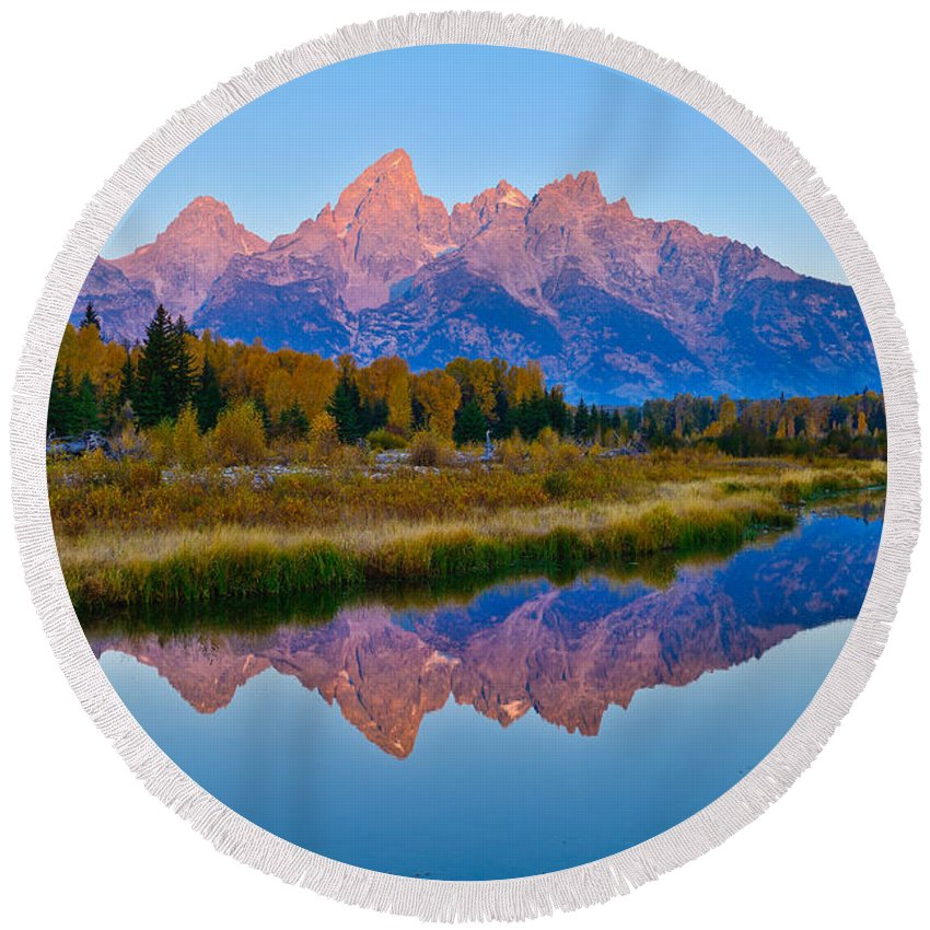 Grand Teton National Park. Schwabacher Landing Round Beach Towel featuring the photograph Schwabacher Dawn by Greg Norrell