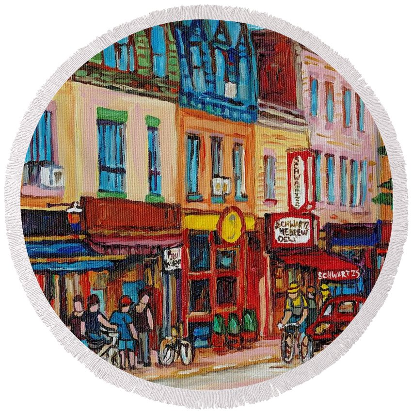 Schwartz Deli Round Beach Towel featuring the painting Schwartzs Deli And Warshaw Fruit Store Montreal Landmarks On St Lawrence Street by Carole Spandau