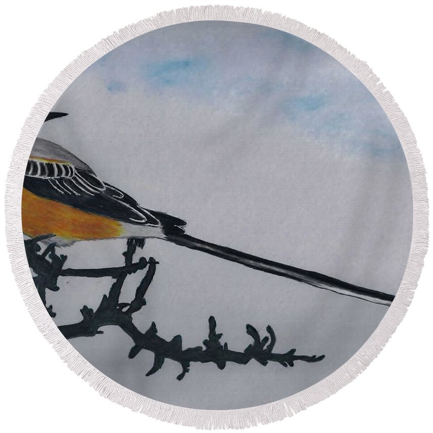 Wildlife Round Beach Towel featuring the drawing Scissor-tailed Flycatcher by D Hackett