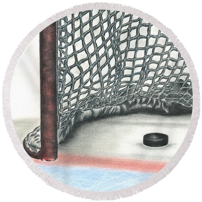 Hockey Round Beach Towel featuring the drawing Score by Troy Levesque