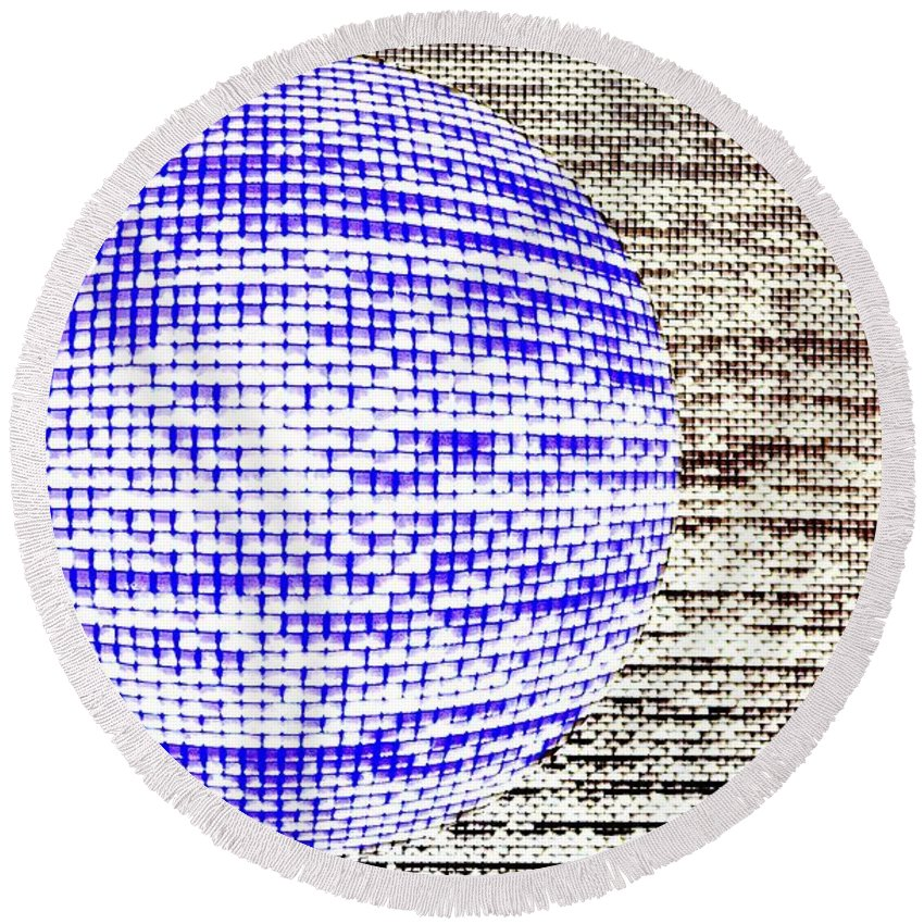 Window Round Beach Towel featuring the photograph Screen Orb-30 by Larry Jost