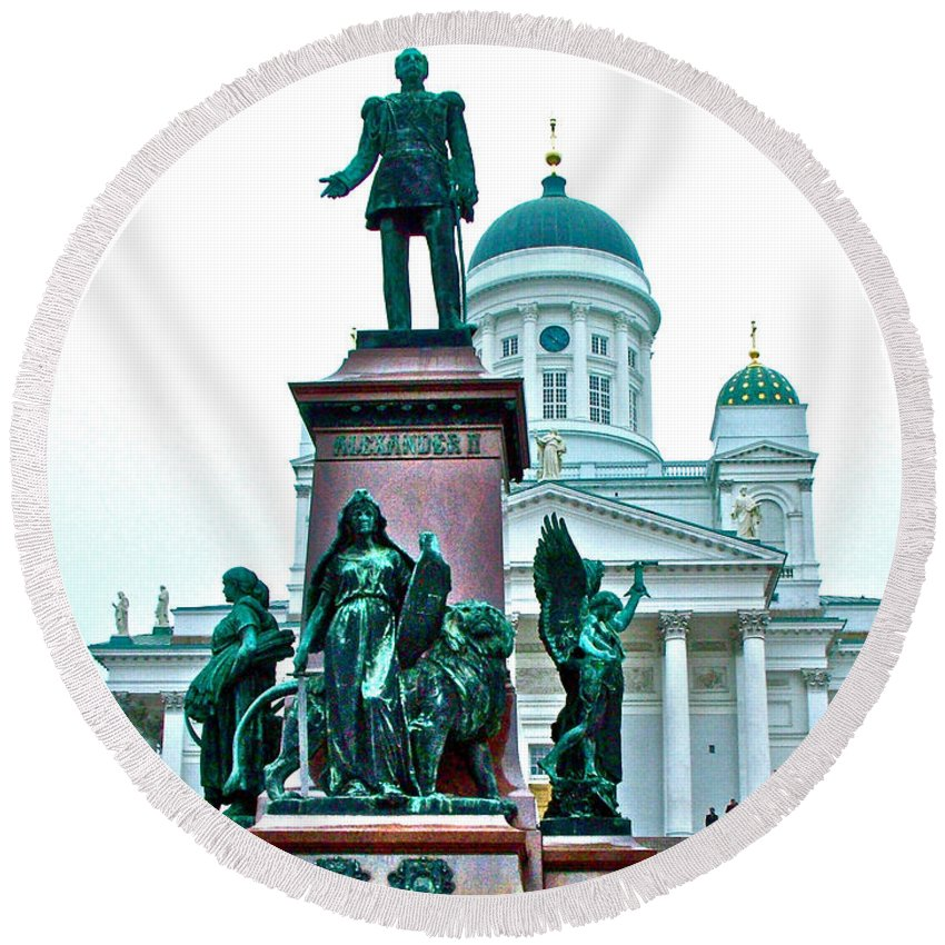 Sculpture Of Alexander Ii In Cathedral Of Helsinki Round Beach Towel featuring the photograph Sculpture Of Alexander II In Cathedral Of Helsinki-finland by Ruth Hager