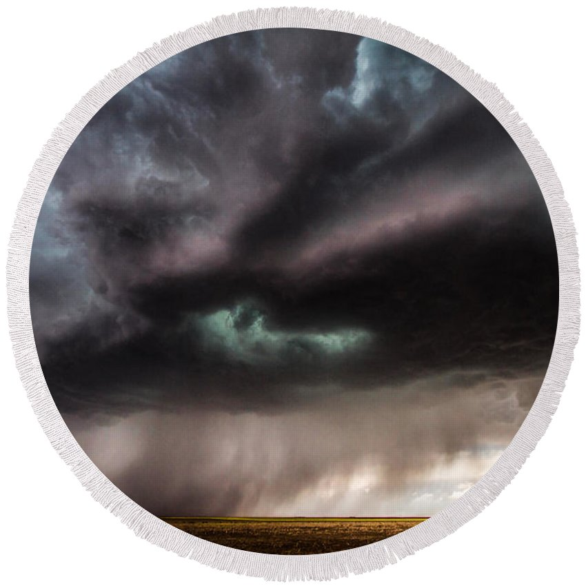 Storms Round Beach Towel featuring the photograph Sculpture - Turquoise Colored Storm Over Kansas Plains by Sean Ramsey