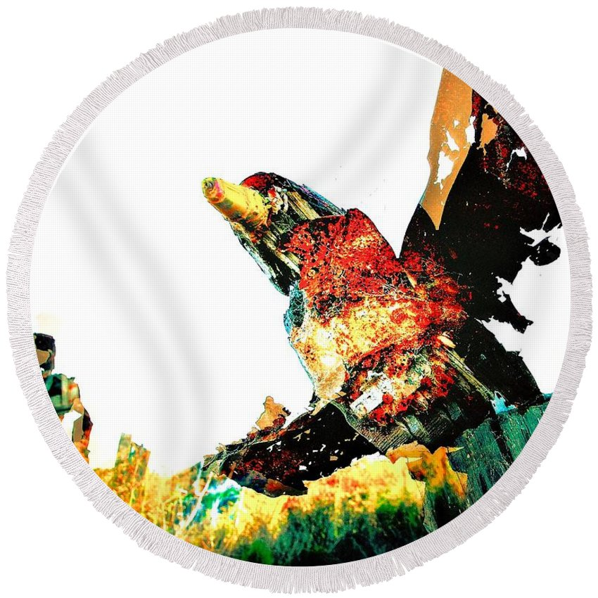 Abstract Round Beach Towel featuring the photograph Sculpture Taking Flight by David Coleman