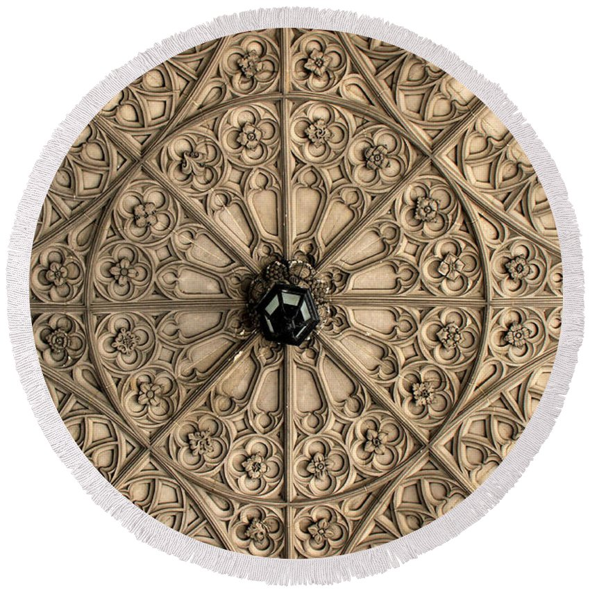 Toronto Round Beach Towel featuring the photograph Sculptured Ceiling 1 by Andrew Fare