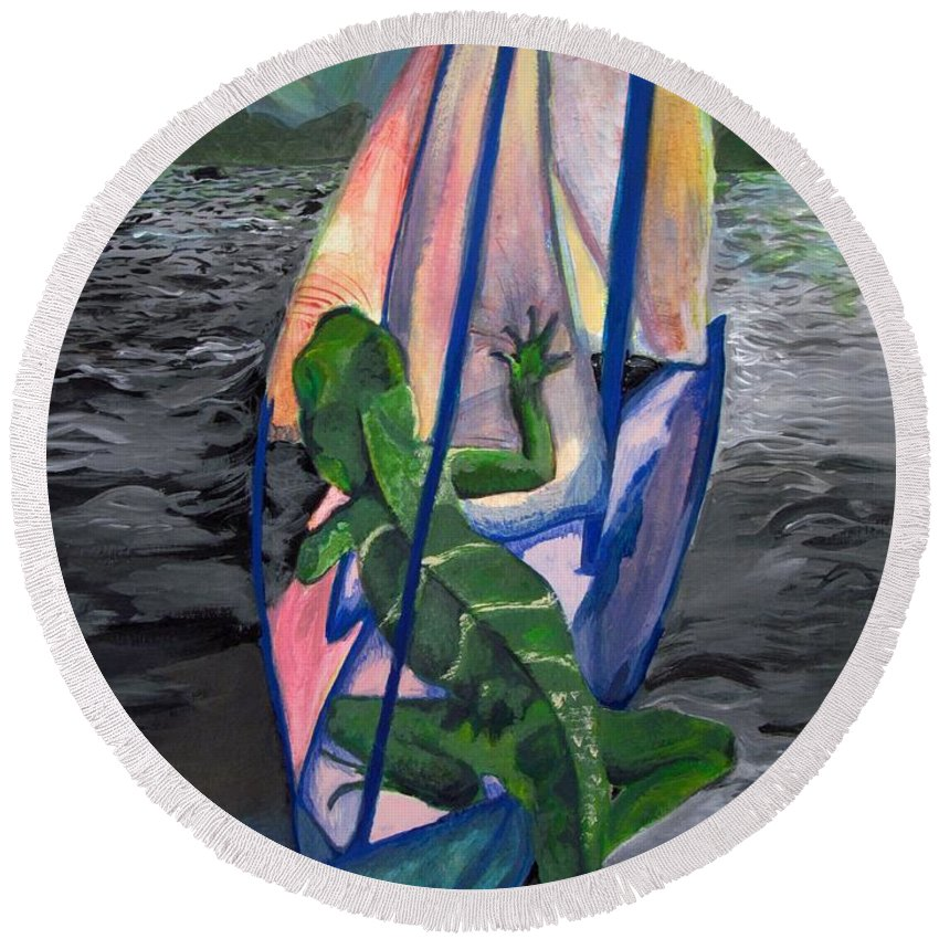 #water#dragon#ocean#landscape#mountains#sailing#adventure#colorful Round Beach Towel featuring the painting Sea Dragon by Kayla Kuhns