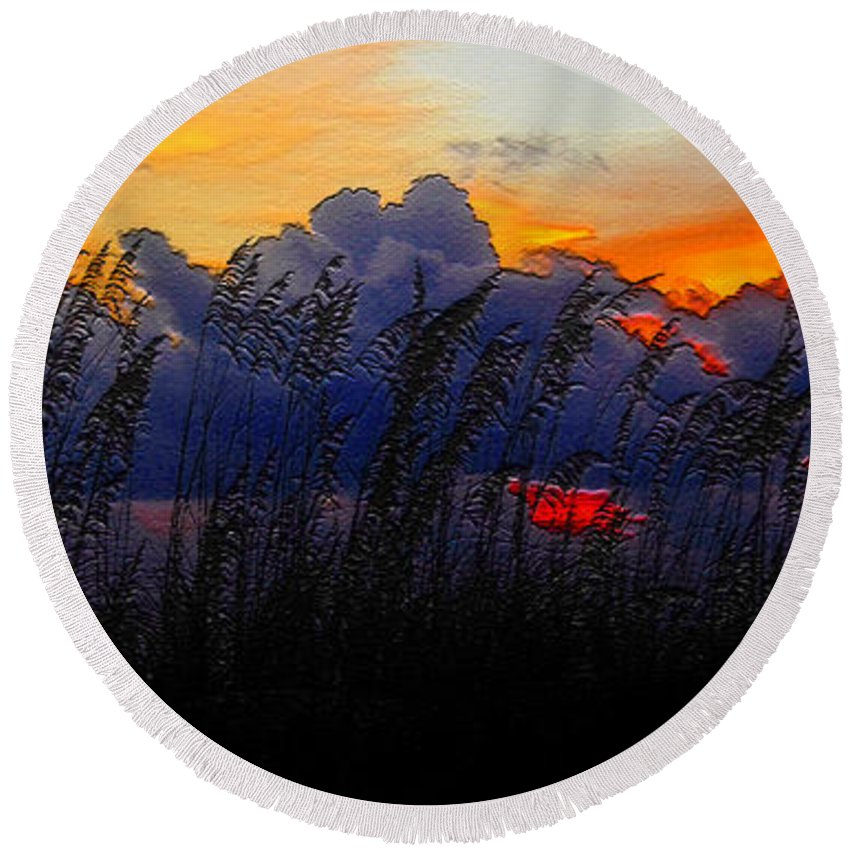 Sea Oat Sunset Round Beach Towel featuring the painting Sea Oat Sunset by David Lee Thompson