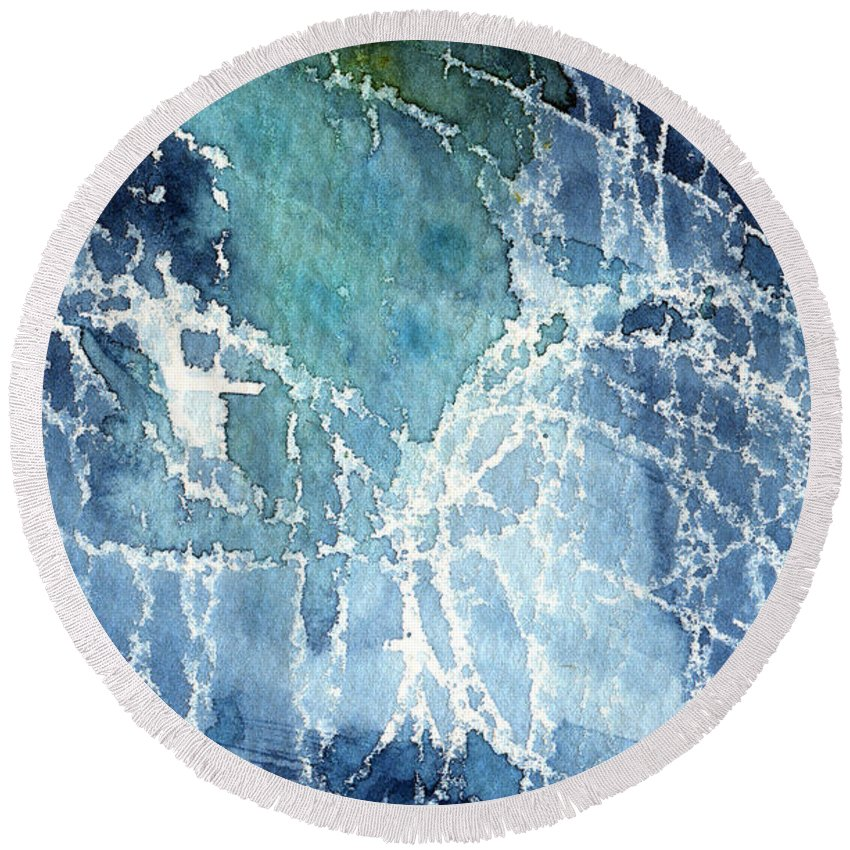Abstract Painting Round Beach Towel featuring the painting Sea Spray by Linda Woods
