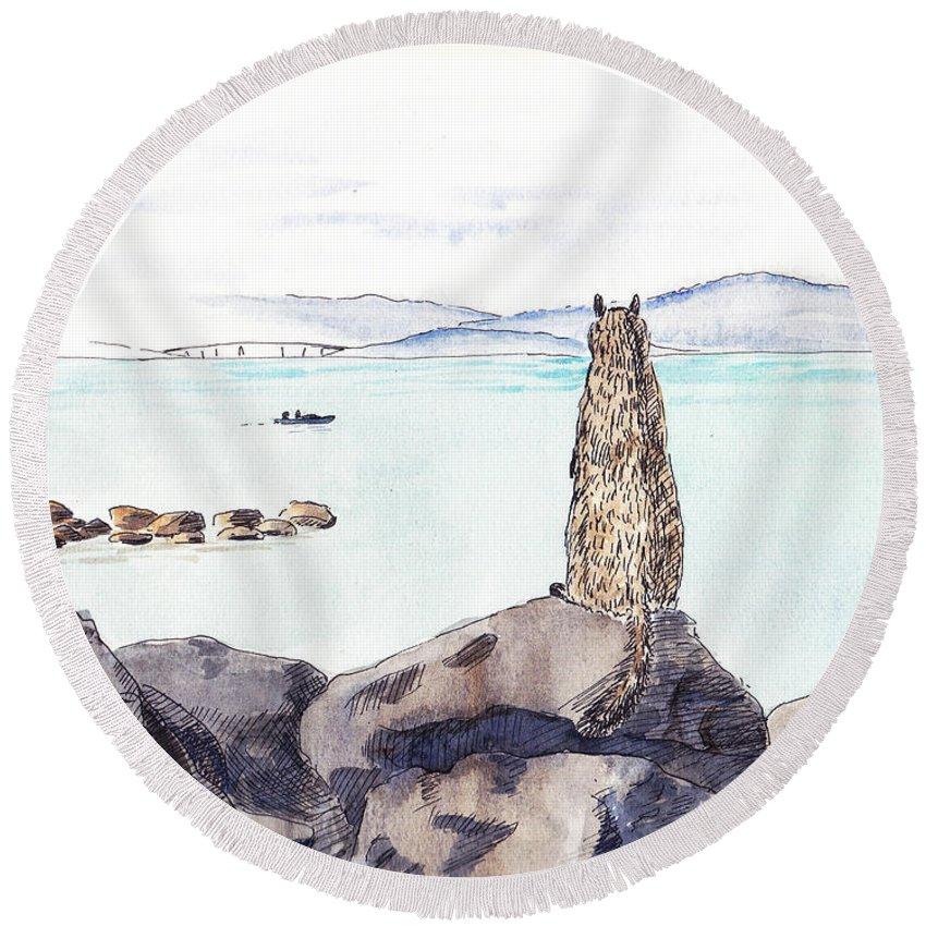 Sketch Round Beach Towel featuring the painting Sea Squirrel by Masha Batkova