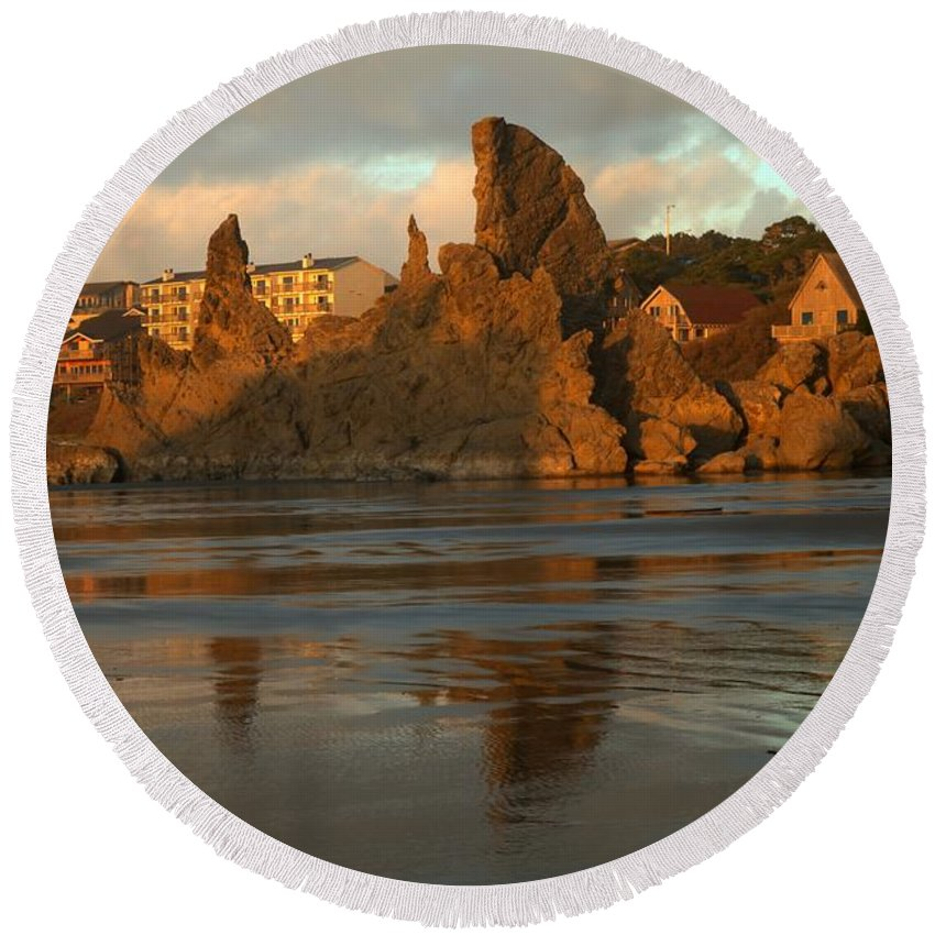 Bandon Beach Round Beach Towel featuring the photograph Sea Stacks And The City by Adam Jewell