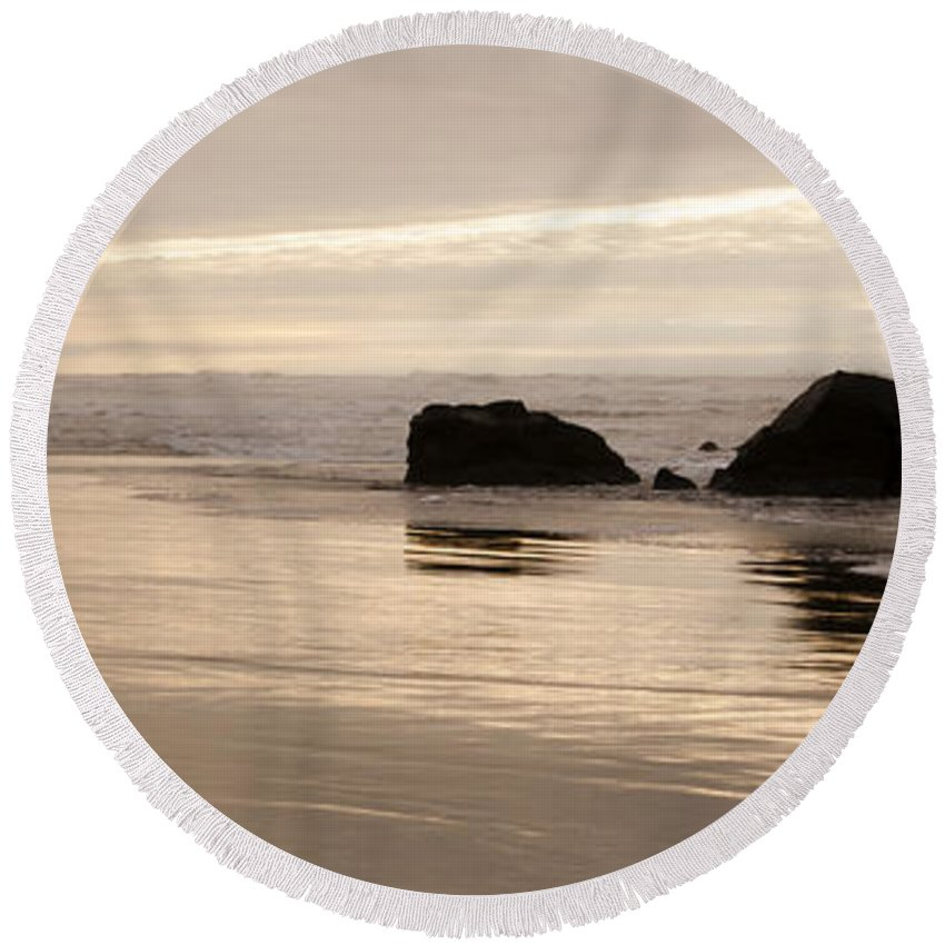 Sunset Round Beach Towel featuring the photograph Sea Stacks Panorama by Vivian Christopher