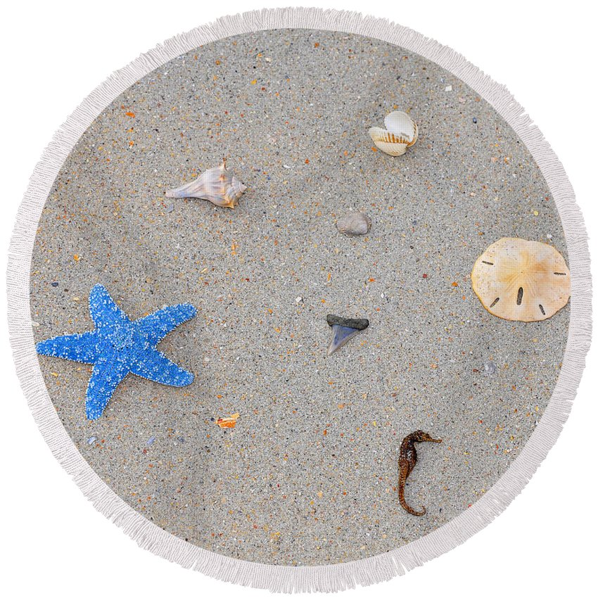 Sea Star Round Beach Towel featuring the photograph Sea Swag - Light Blue by Al Powell Photography USA