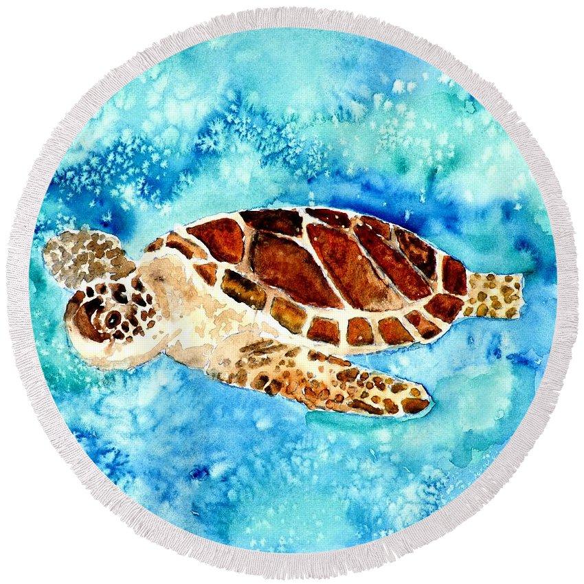 Sea Turtle Round Beach Towel featuring the painting Sea Turtle by Derek Mccrea