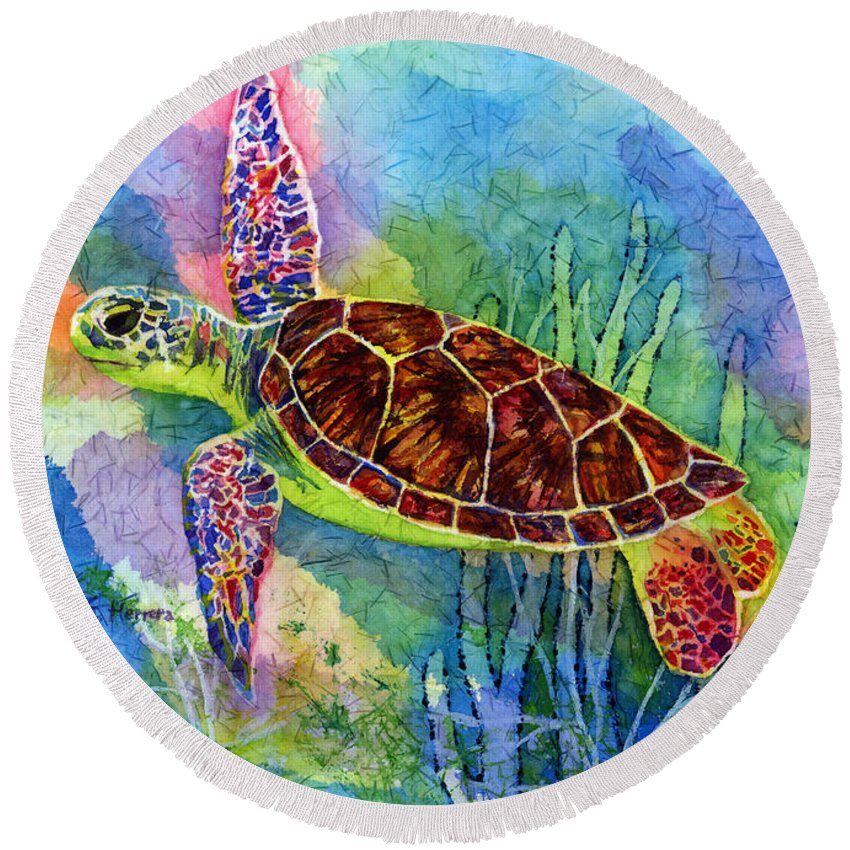 Turtle Round Beach Towel featuring the painting Sea Turtle by Hailey E Herrera