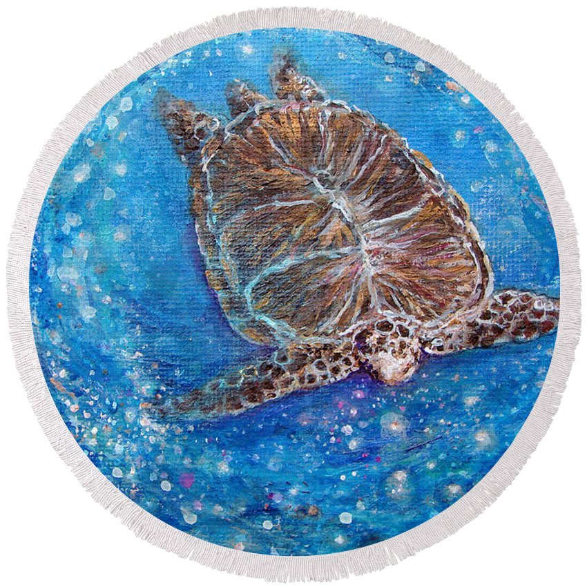 Sea Turtle Round Beach Towel featuring the painting Sea Turtle Mr. Longevity by Ashleigh Dyan Bayer