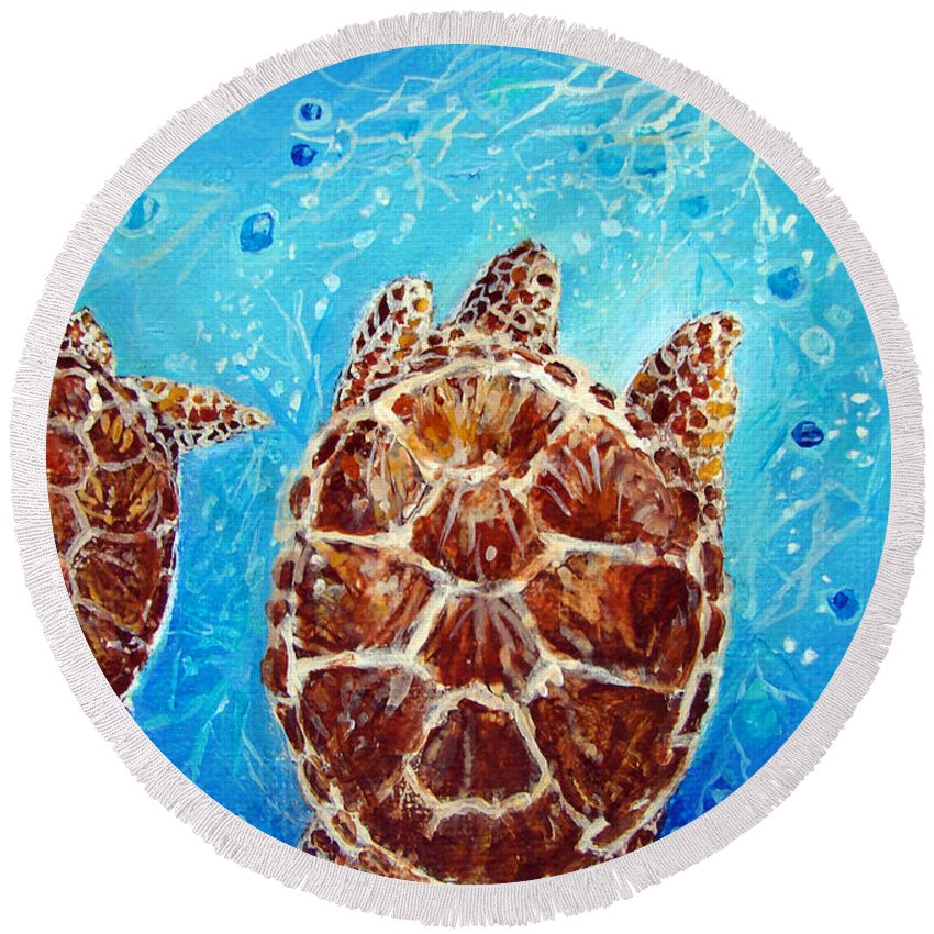 Sea Turtles Round Beach Towel featuring the painting Sea Turtles Swimming Towards The Light Together by Ashleigh Dyan Bayer