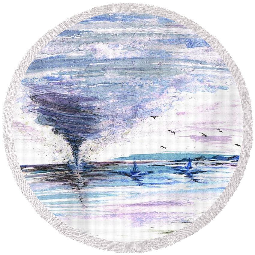 Teresa Round Beach Towel featuring the painting Sea Twister by Teresa White