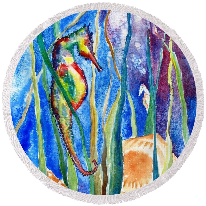 Seahorse Round Beach Towel featuring the painting Seahorse And Shells by Carlin Blahnik CarlinArtWatercolor