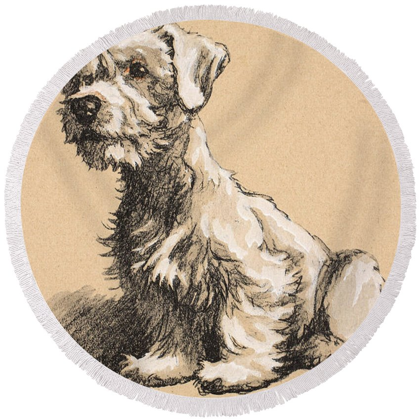 Dog Sketch Round Beach Towels