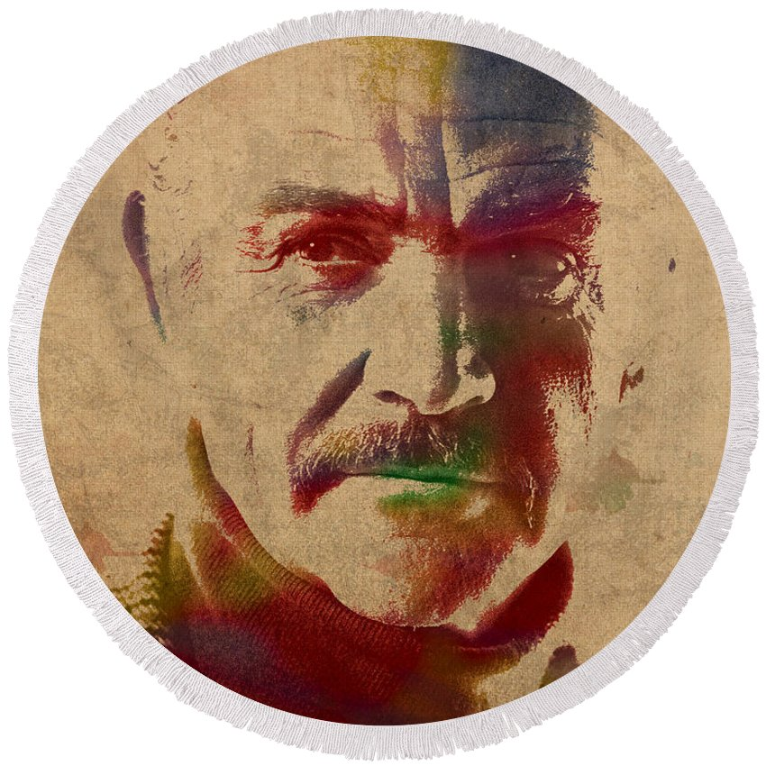 Sean Round Beach Towel featuring the mixed media Sean Connery Actor Watercolor Portrait On Worn Distressed Canvas by Design Turnpike
