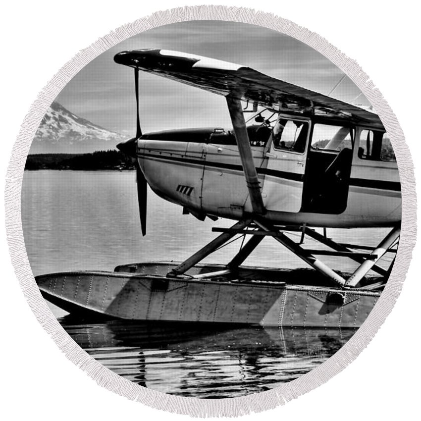 Mount Rainier Round Beach Towel featuring the photograph Seaplane Standby by Benjamin Yeager