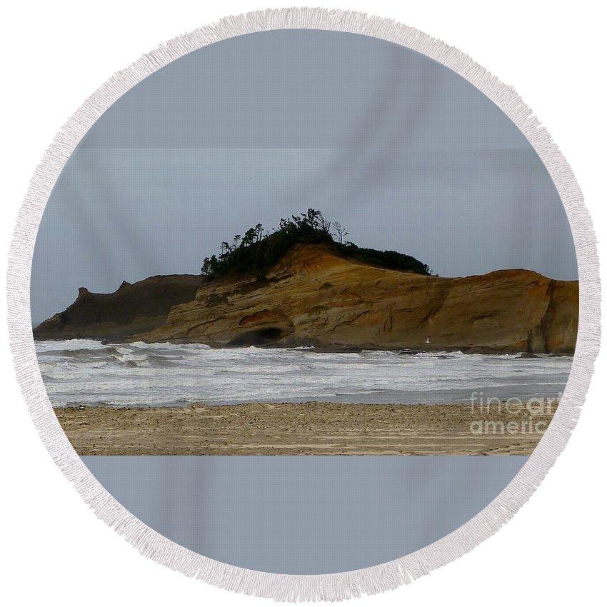 Photograph Round Beach Towel featuring the photograph Seascape by Susan Garren