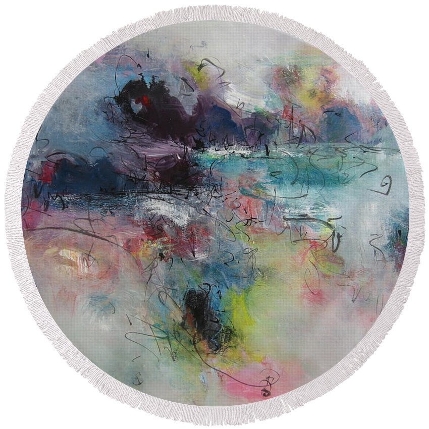 Green Purple Paintings Round Beach Towel featuring the painting Seascape00031 by Seon-Jeong Kim