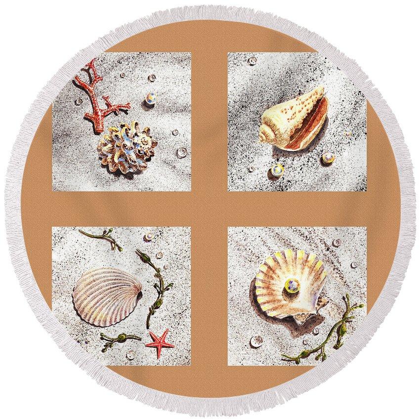 Seashell Round Beach Towel featuring the painting Seashell Collection II by Irina Sztukowski