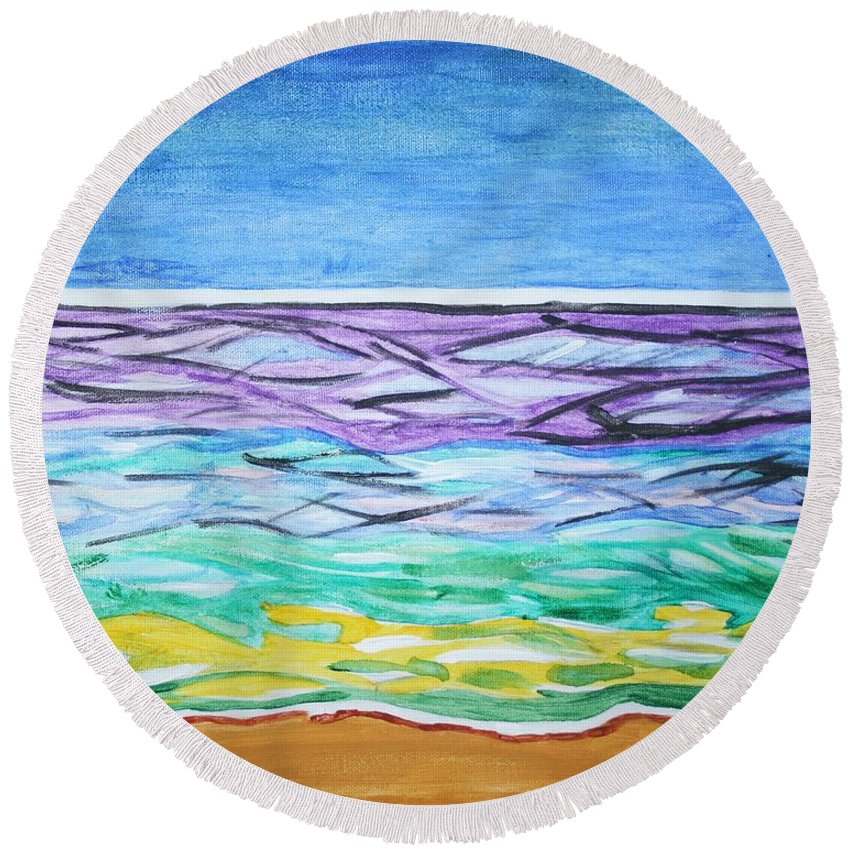 Blue Sky Round Beach Towel featuring the painting Seashore Blue Sky by Stormm Bradshaw