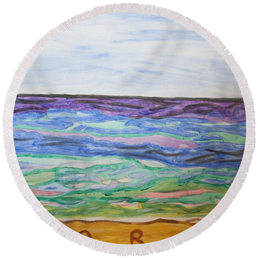 Blue Sky Round Beach Towel featuring the painting Sunny Seashore by Stormm Bradshaw