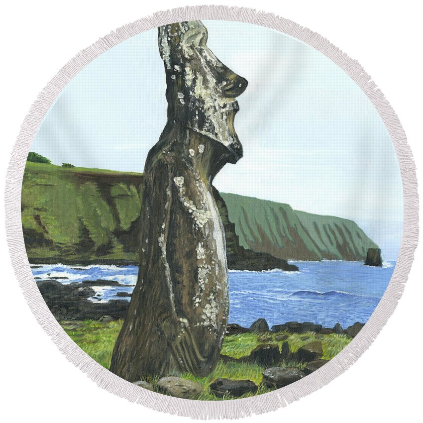 Easter Island Round Beach Towel featuring the painting Seaside Moai by Brent Charbonneau