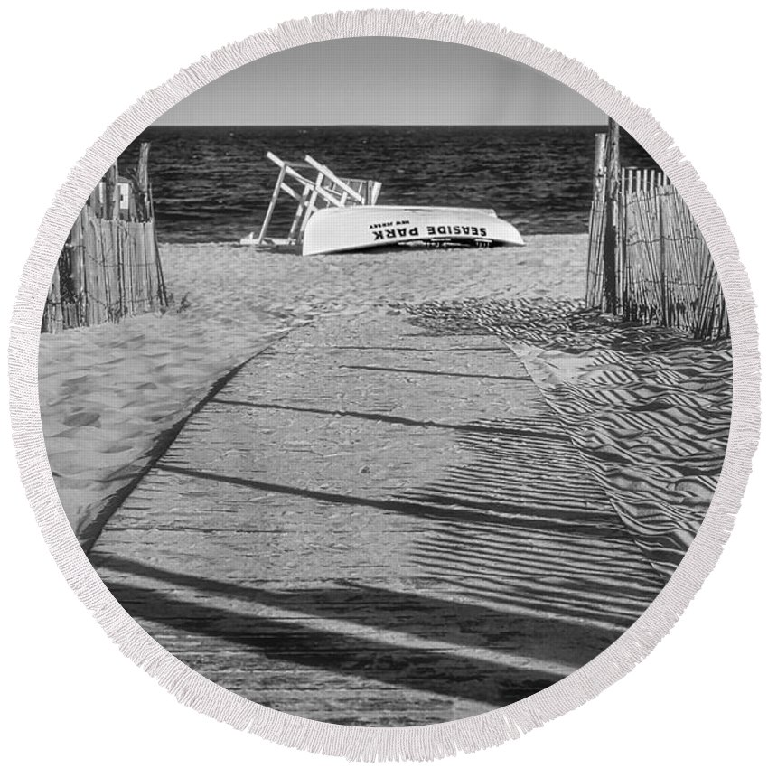 Jersey Shore Round Beach Towel featuring the photograph Seaside Park New Jersey Shore Bw by Susan Candelario