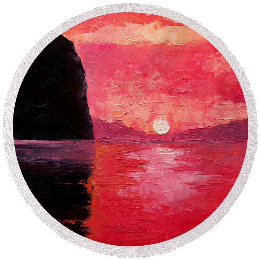 Landscape Round Beach Towel featuring the painting Seaside Sunset by Sergey Bezhinets