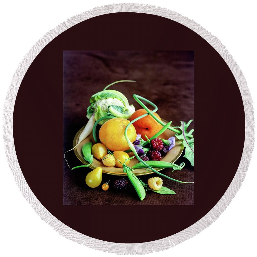 Fruits Round Beach Towel featuring the photograph Seasonal Fruit And Vegetables by Romulo Yanes