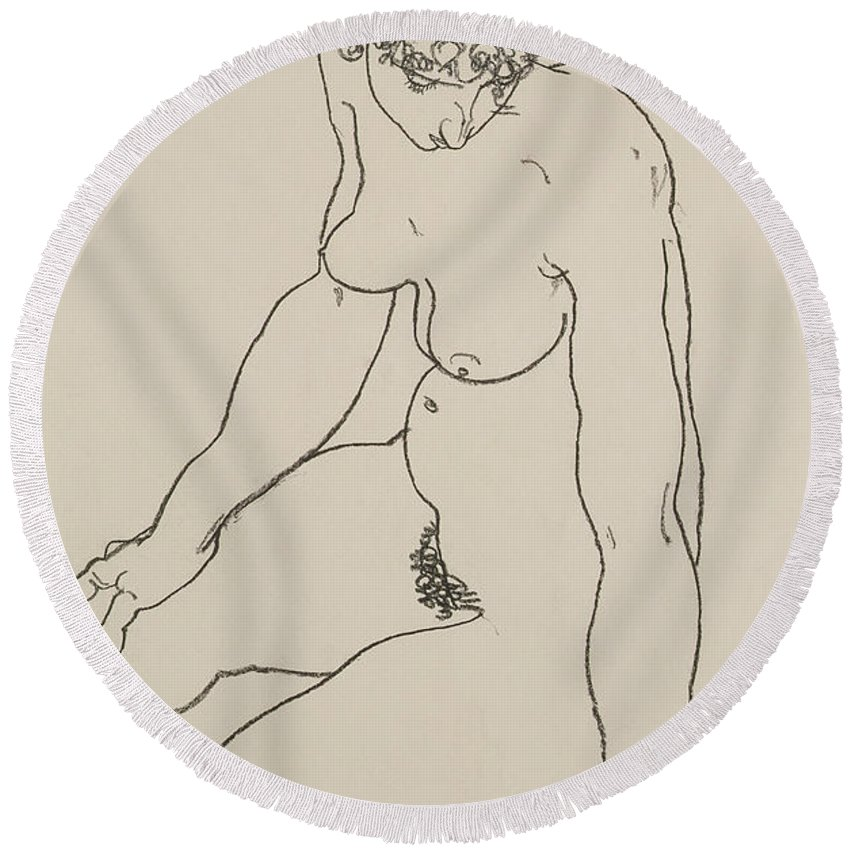 Woman Round Beach Towel featuring the painting Seated Female Nude, 1918 by Egon Schiele