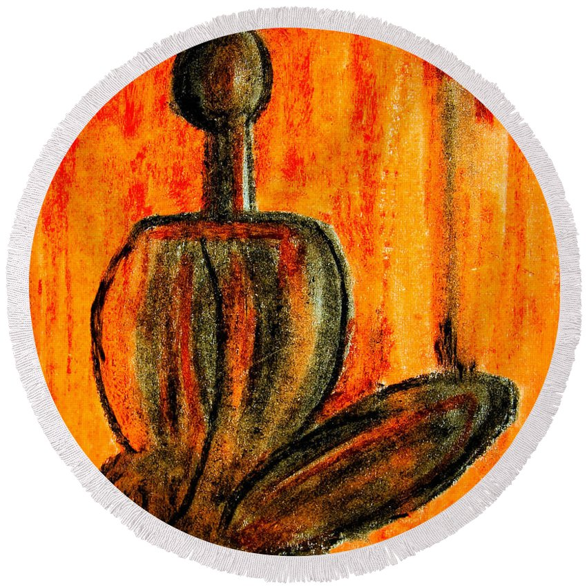 Abstract Round Beach Towel featuring the painting Seated Man by Nirdesha Munasinghe
